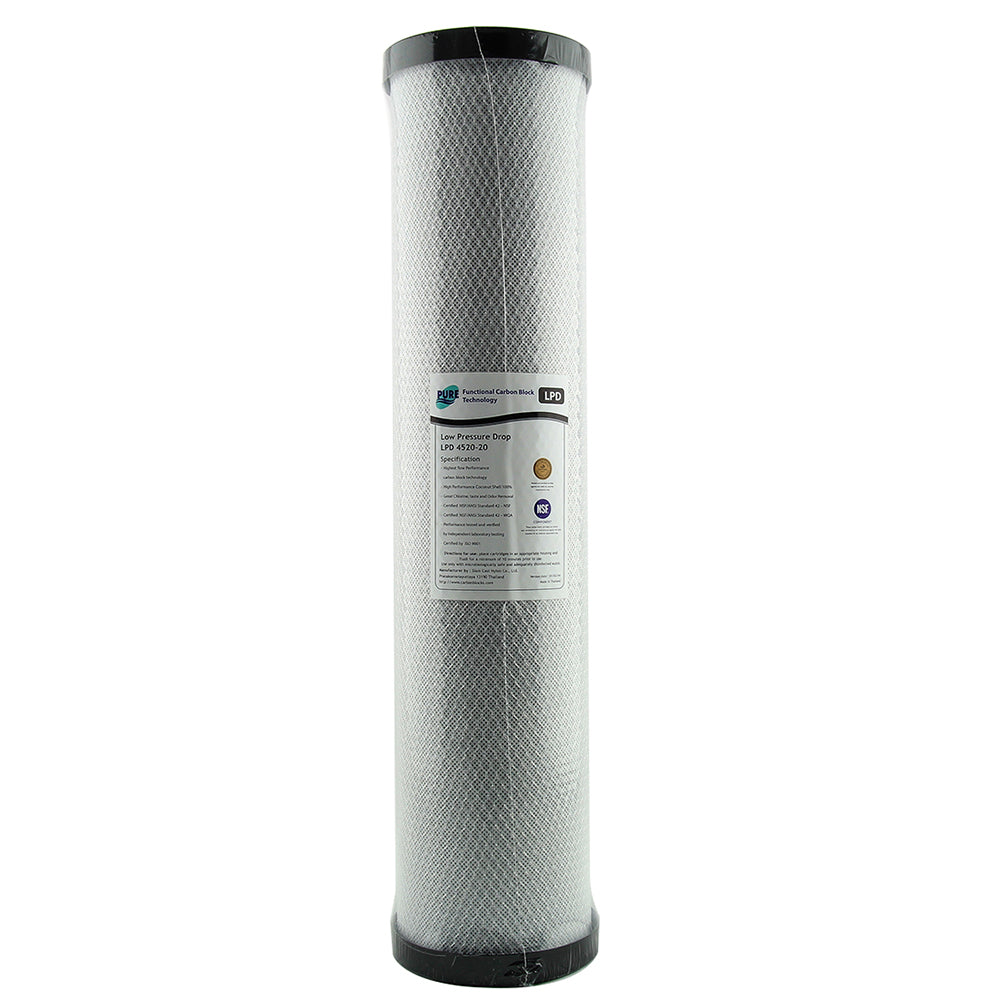 Pure LPD 4520-20 20 Micron Low Pressure Carbon Block Whole House Water Filter Replacement Cartridge 20
