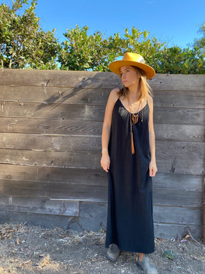 Long Perfect Dress In Black Linen