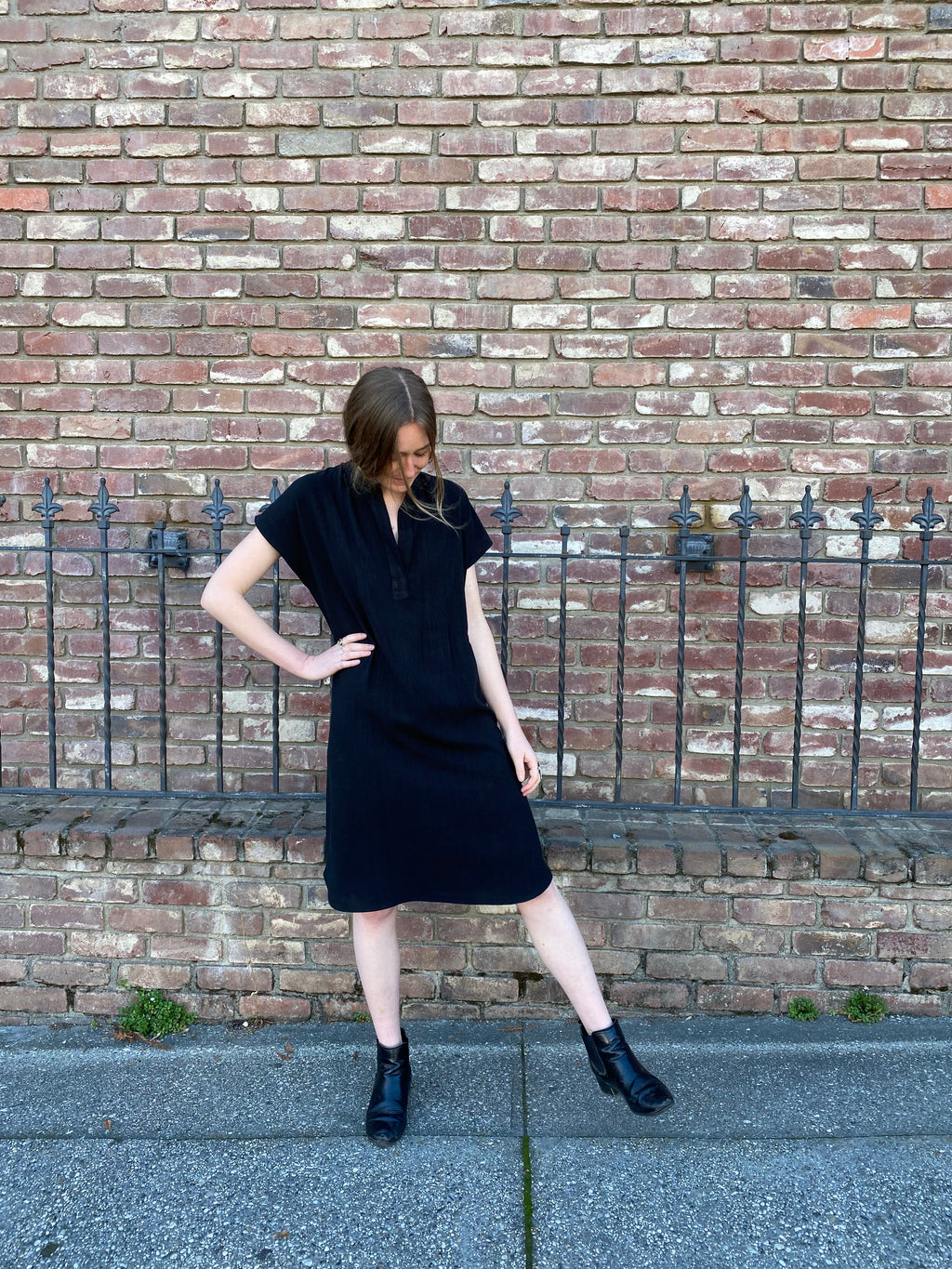 Travel Dress in Black Linen