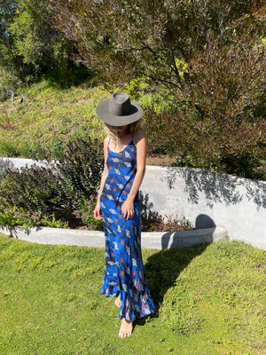 Deer Creek Dress in Royal Ikat