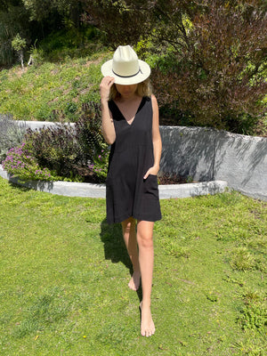 Summer Daze Dress in Black Linen