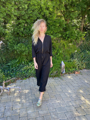 Fly Me To The Moon Jumpsuit in Black Linen