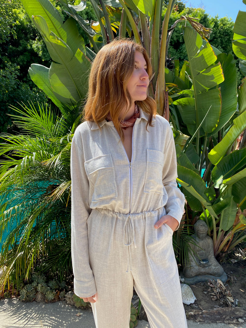 Fly Me To The Moon Jumpsuit in Natural Linen