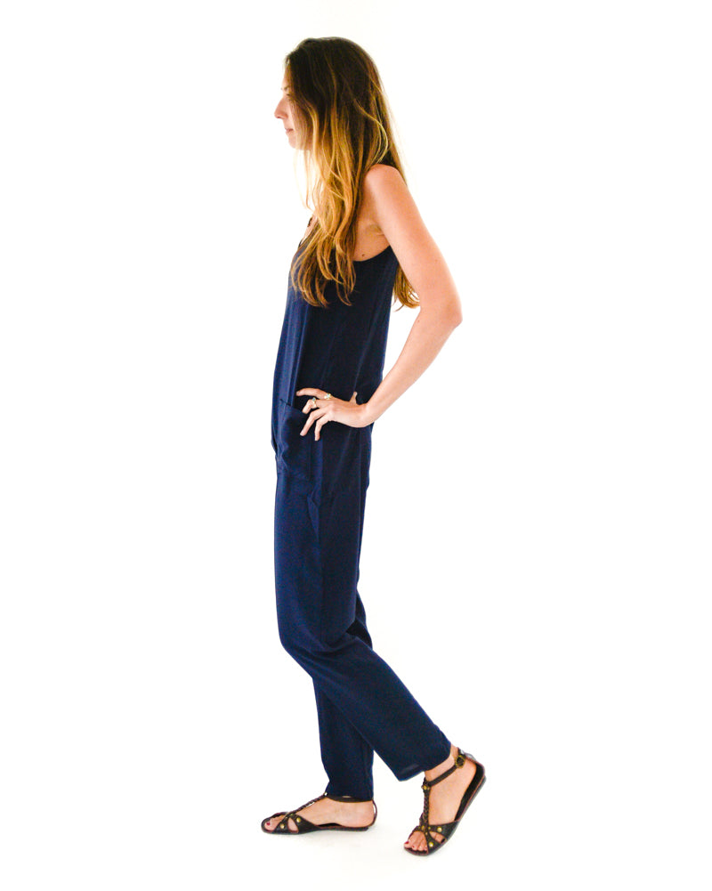 Shepherdess Playsuit in Navy