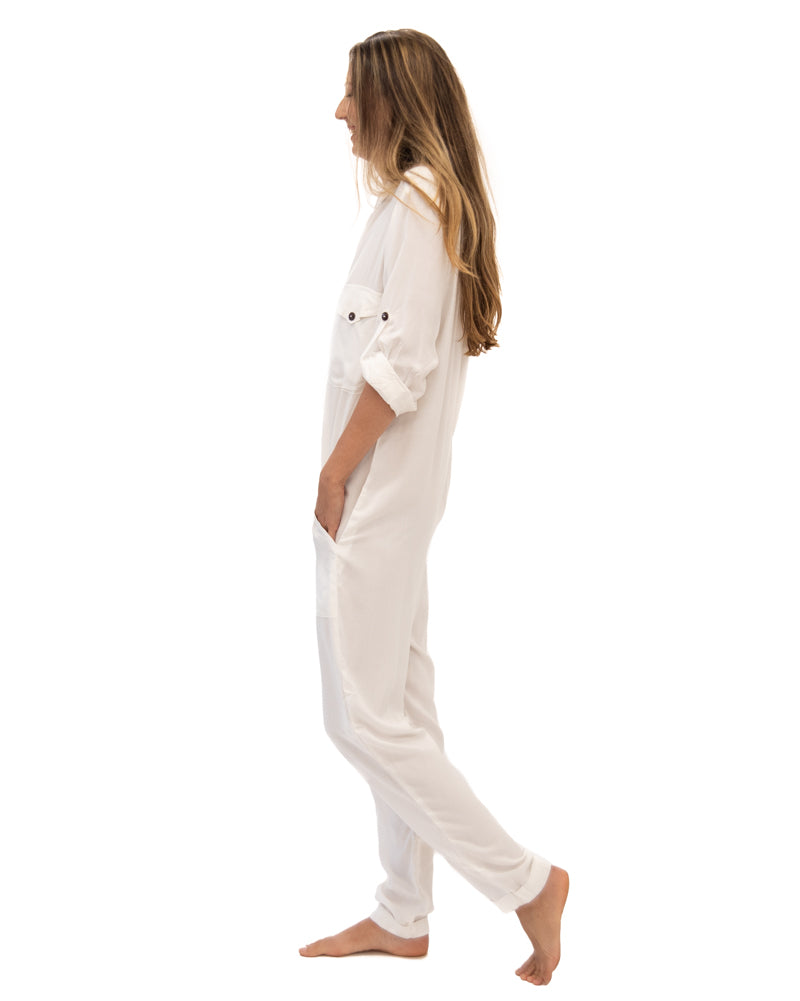 Yes We Can Jumpsuit in Off White