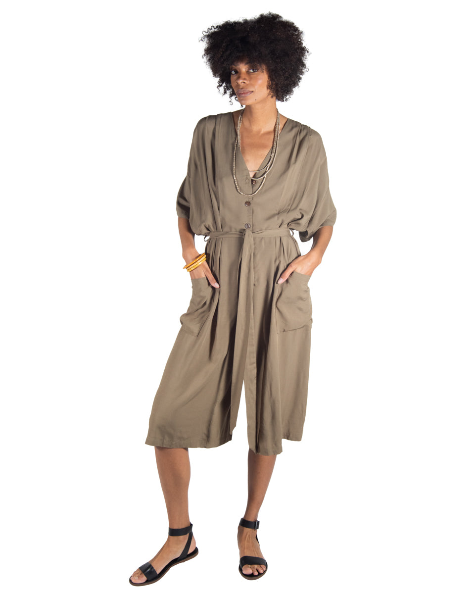 French Market Playsuit in Olive