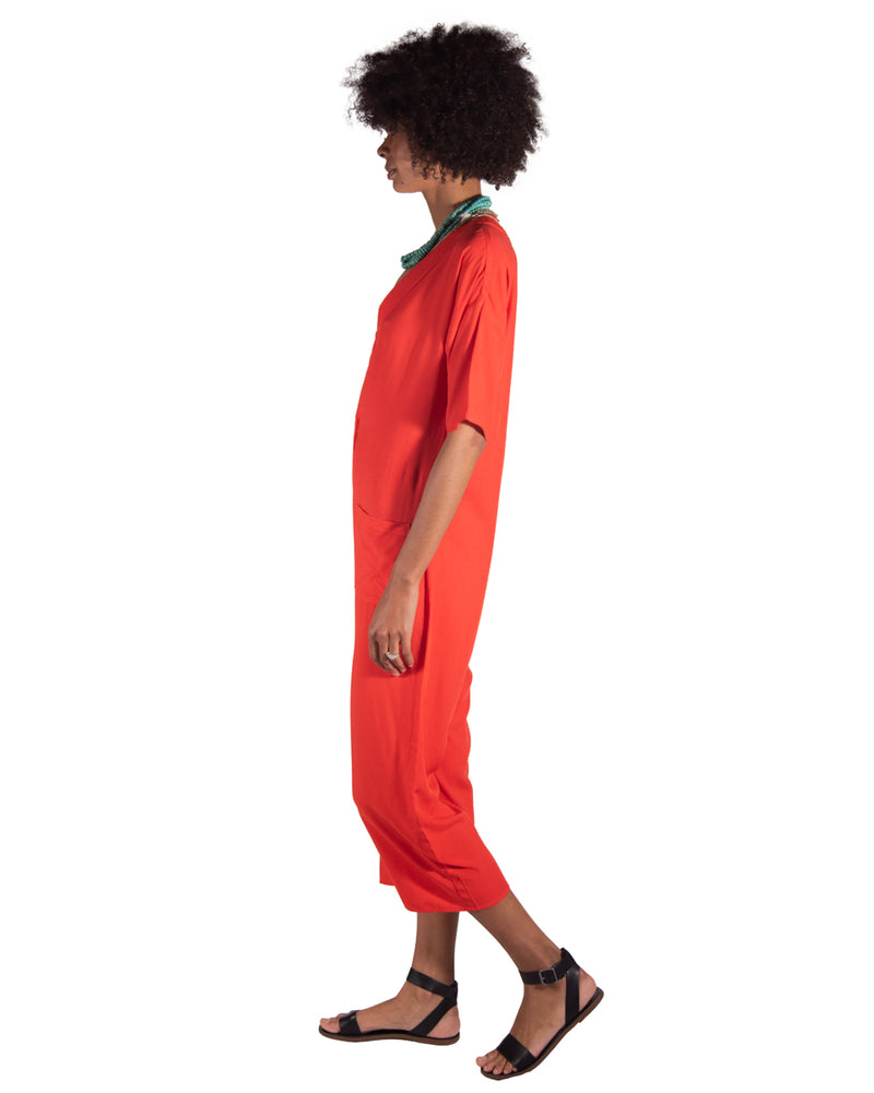 Playdate Jumpsuit in Tangerine