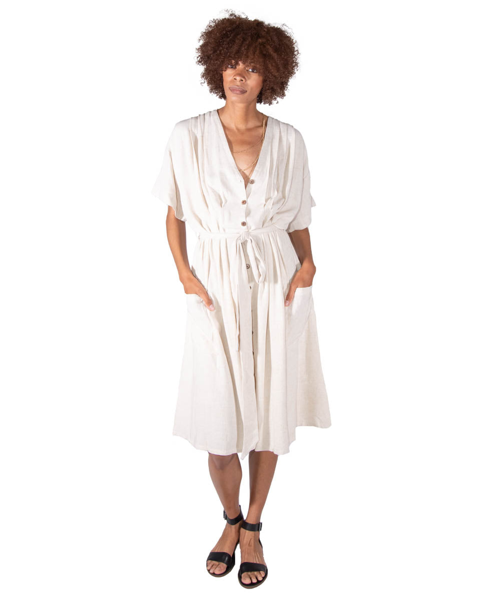 French Market Dress in Natural Linen