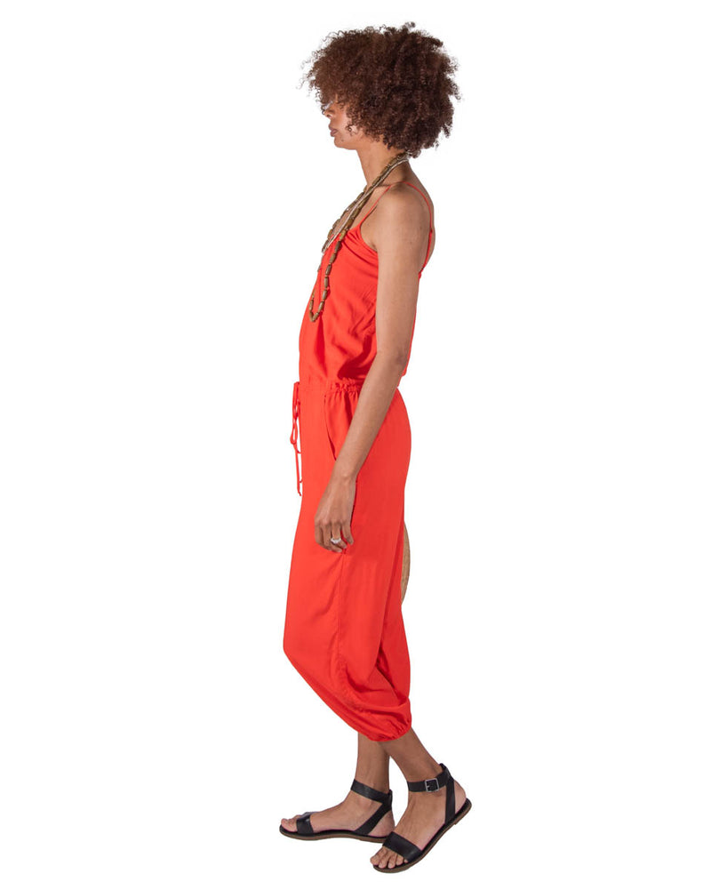 Claudette Jumpsuit In Tangerine