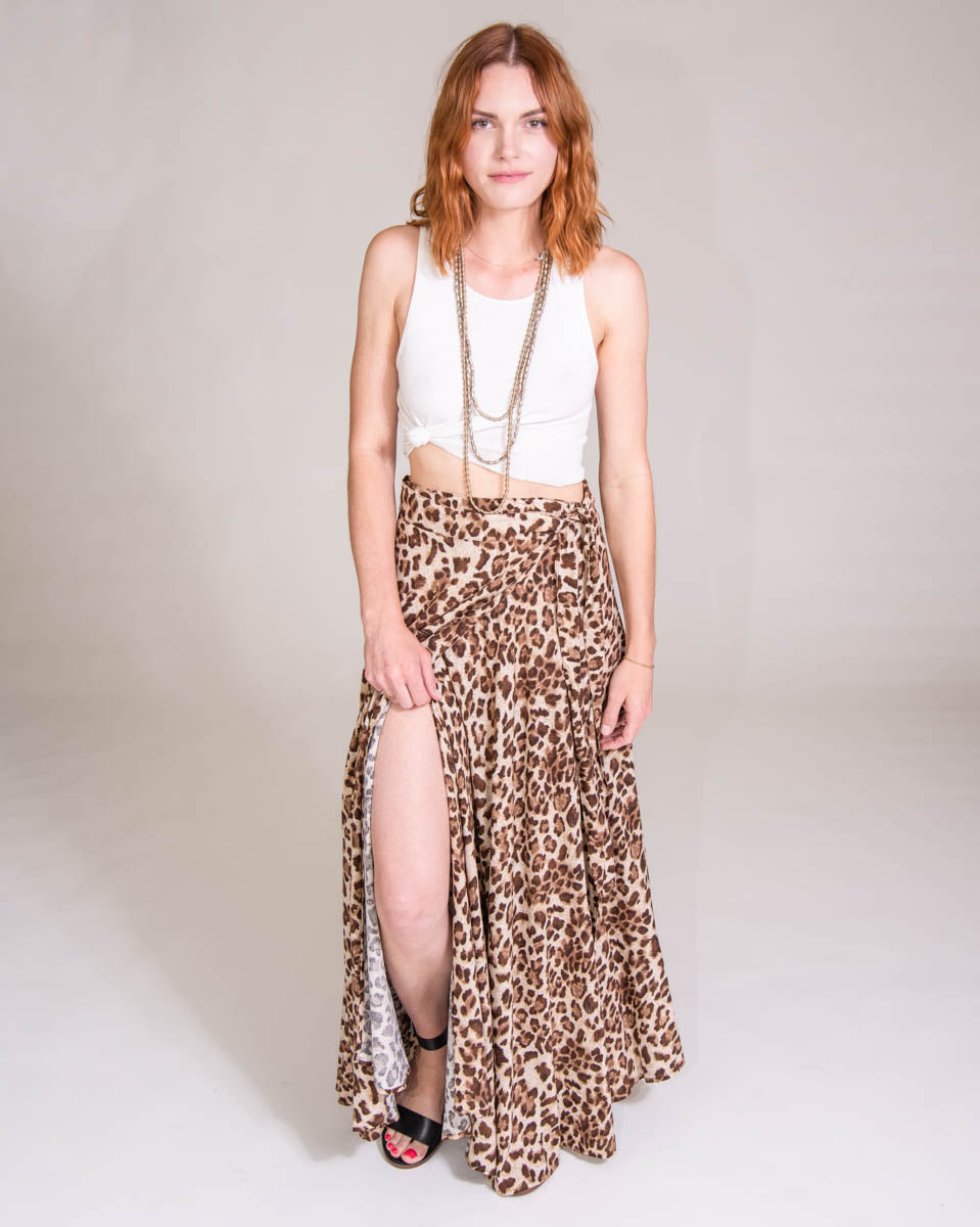 Wrap Skirt in Leopard