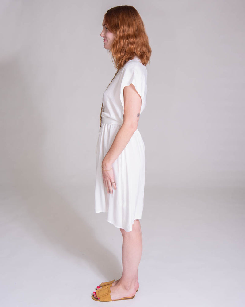 Mini Garbo Dress in Off White