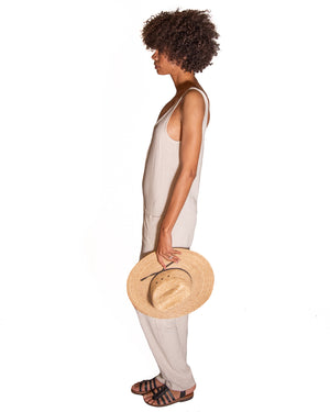Shepherdess Playsuit in Natural Linen