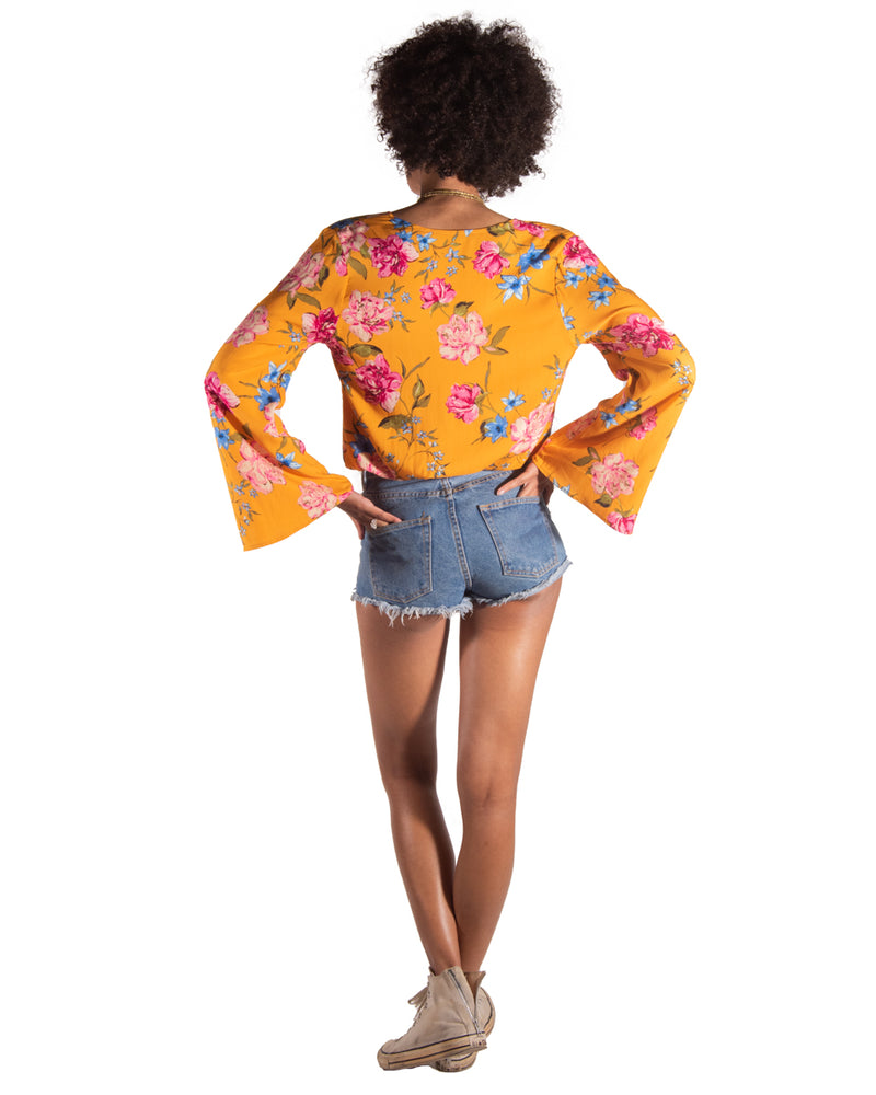 Flamenco Top in Golden Blooms