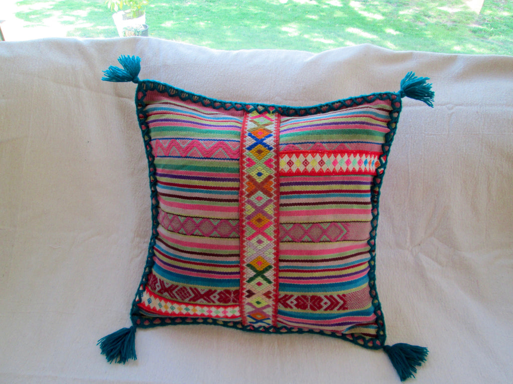 Small Peruvian Pillow in Verde Azulado