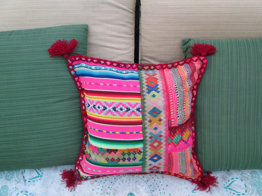 Small Peruvian Pillow in Rojo