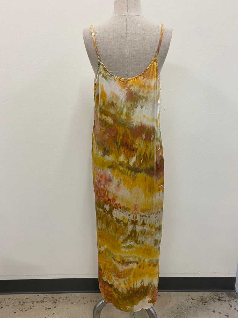Hand Tie-Dyed Silk Slip Dress - Earth M/L