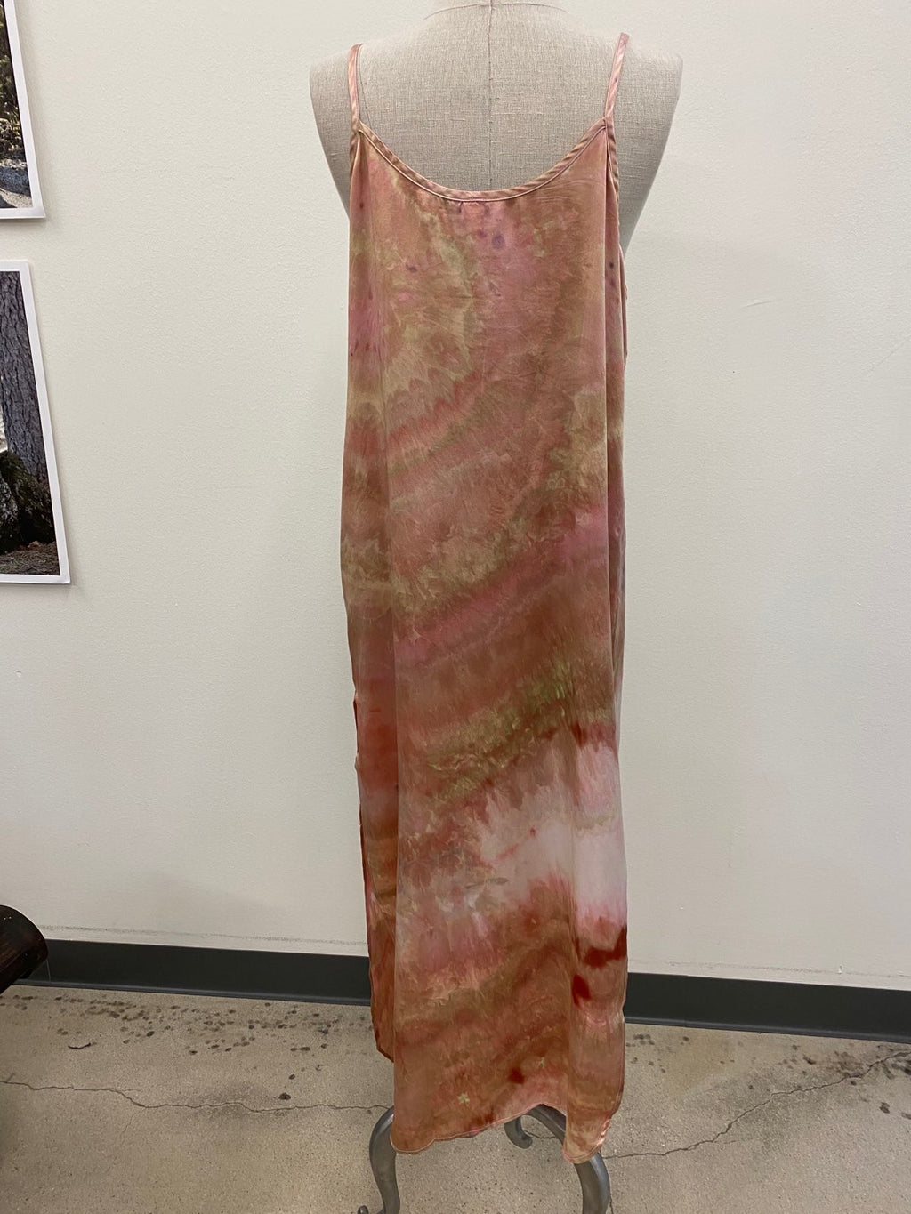 Hand Tie-Dyed Silk Slip Dress - Coral M/L