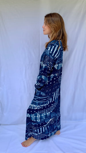 Nomad Dress in Indigo Seas