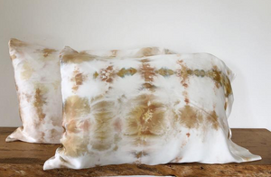 Hand Tie-Dyed Silk Standard Pillowcase Set- Sand