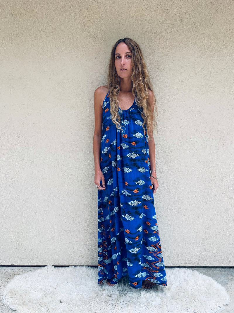 Copy of Wanderlust Dress in Blue Ikat