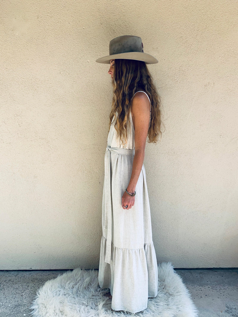 Positano Dress in Natural Linen