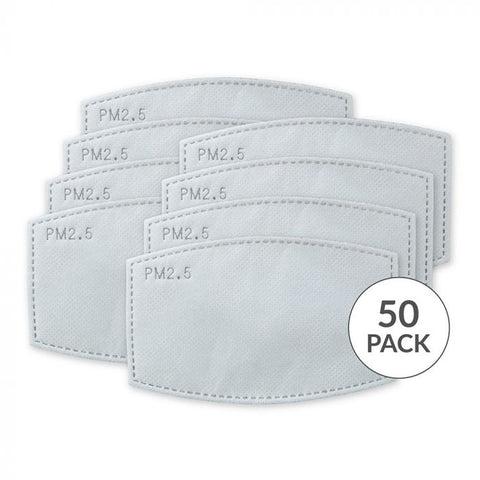 5-Layer Carbon Technology Protective Mask Filters - 50 Pack