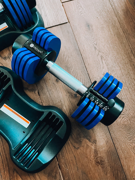 NEW 25 LB ADJUSTABLE DUMBBELL SET (PAIR OF 2)
