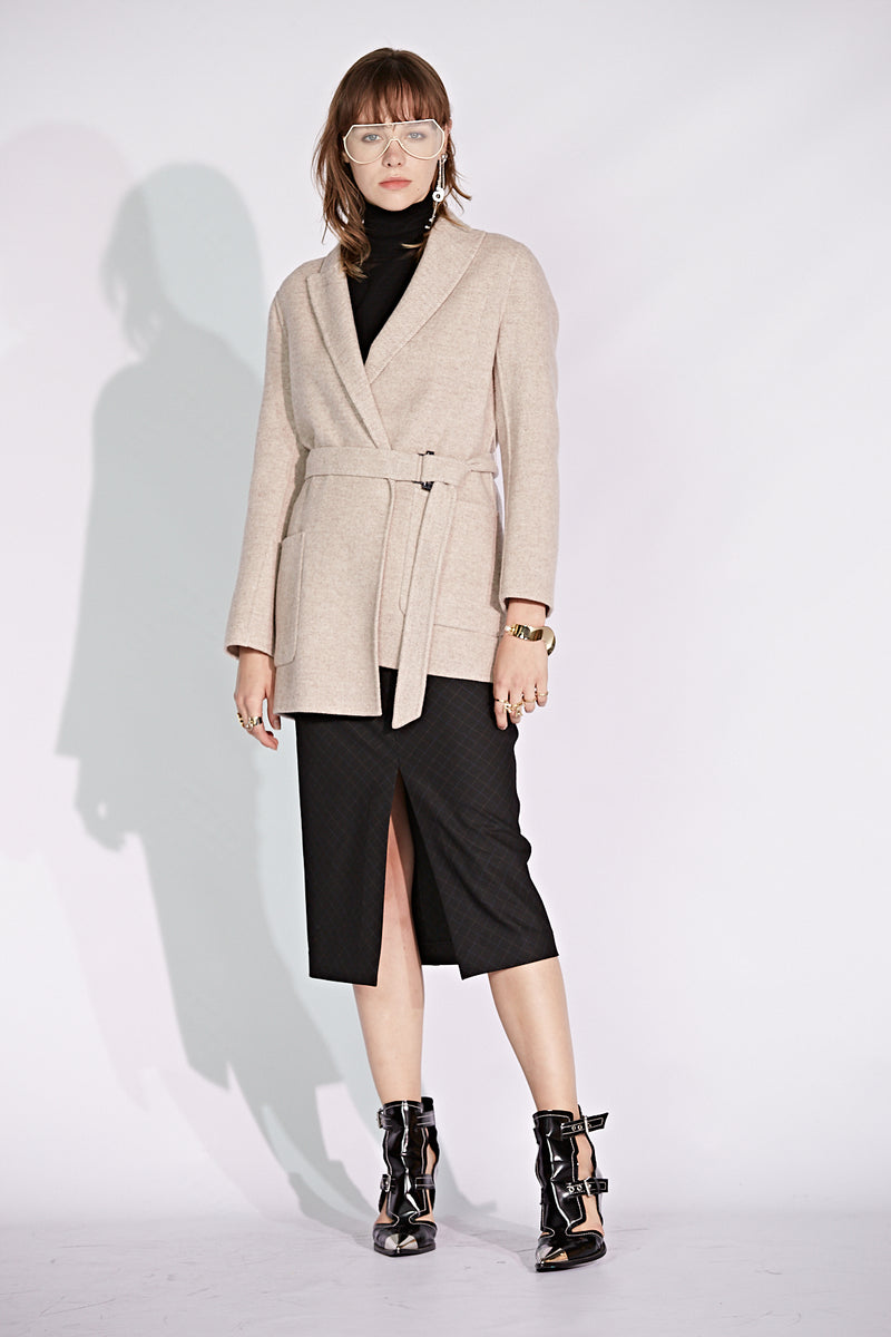 Tweed Belted Blazer Double Face Coat