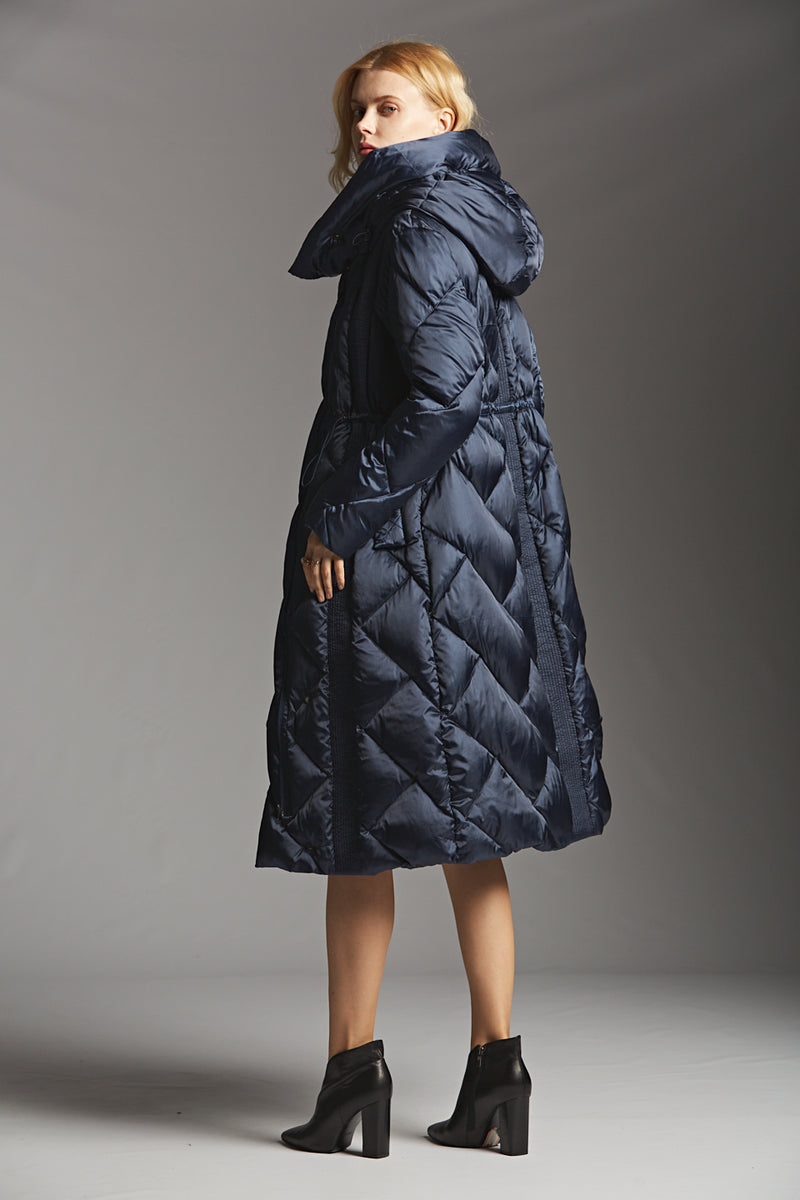 Quilted Drawstring Down Coat
