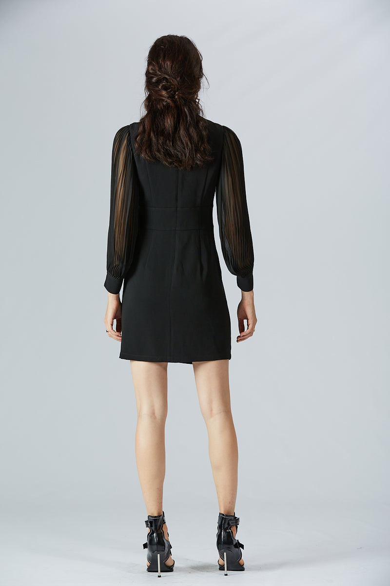 Mock Neck Sheer Puff Sleeve Dress