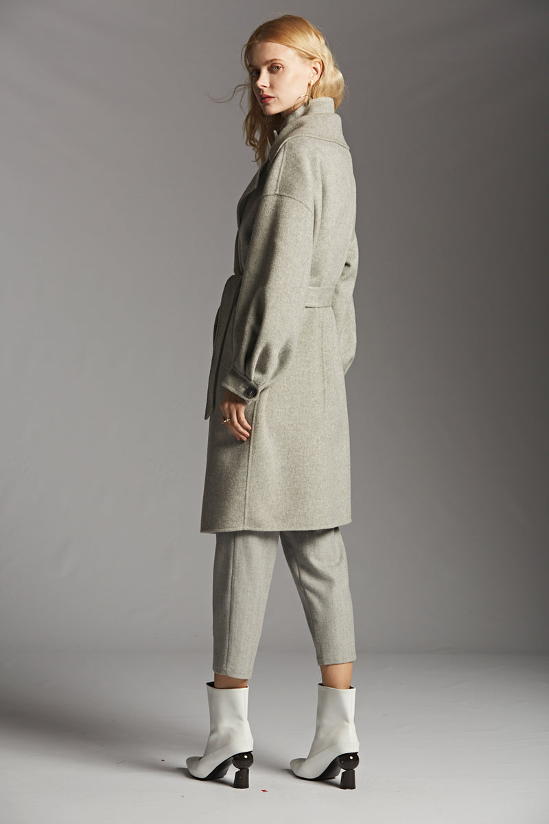 Double Collar Wool Coat