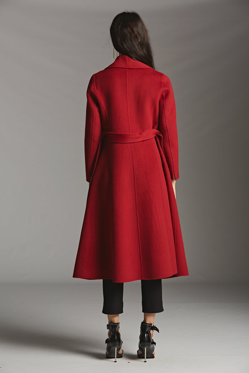Shawl Collar Belted Wool Coat