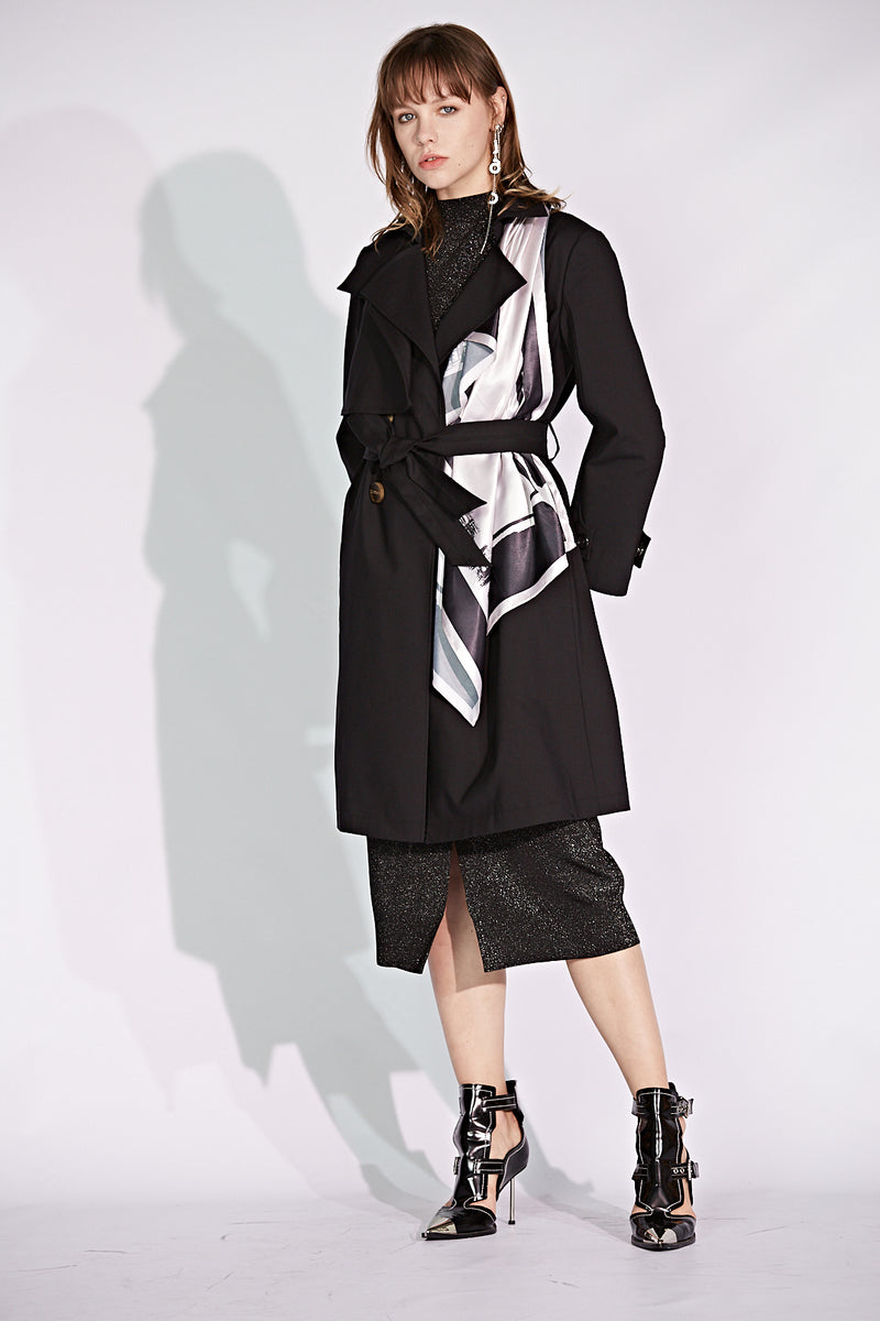 Scarf Accent Double Breasted Trench Coat