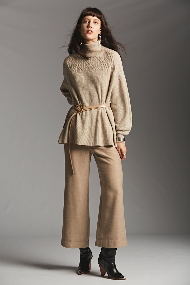 Belted Cable Accent Sweater