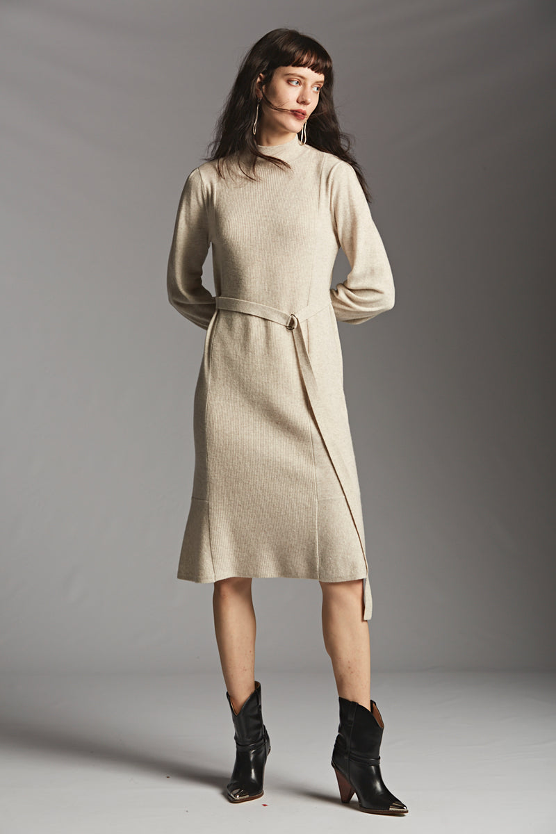 Mock Neck Tie Long Knit Dress