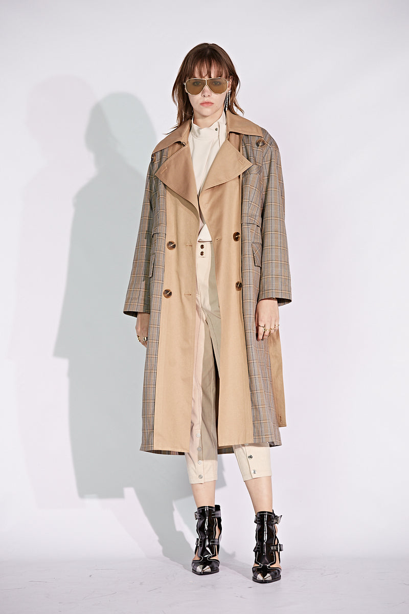 Plaid Double Breasted Trench Coat