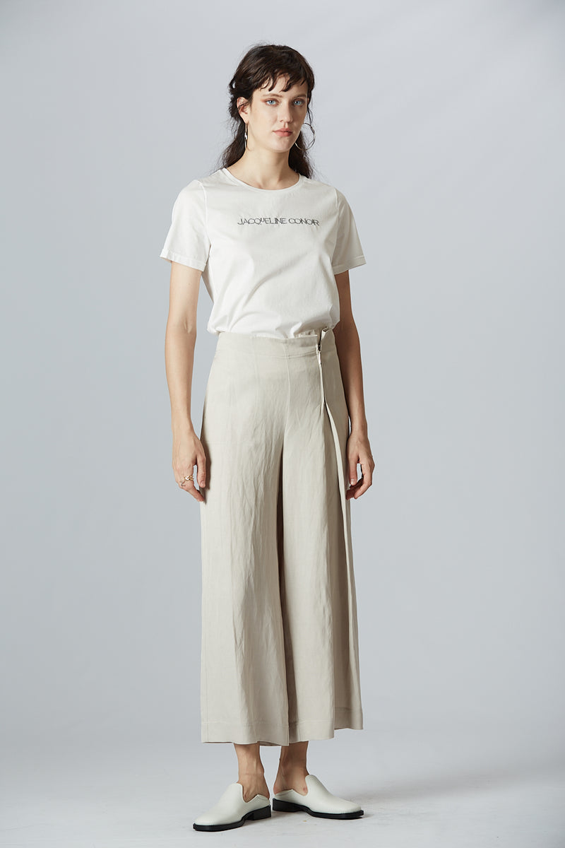 Side Zip Linen Wide Leg Pants