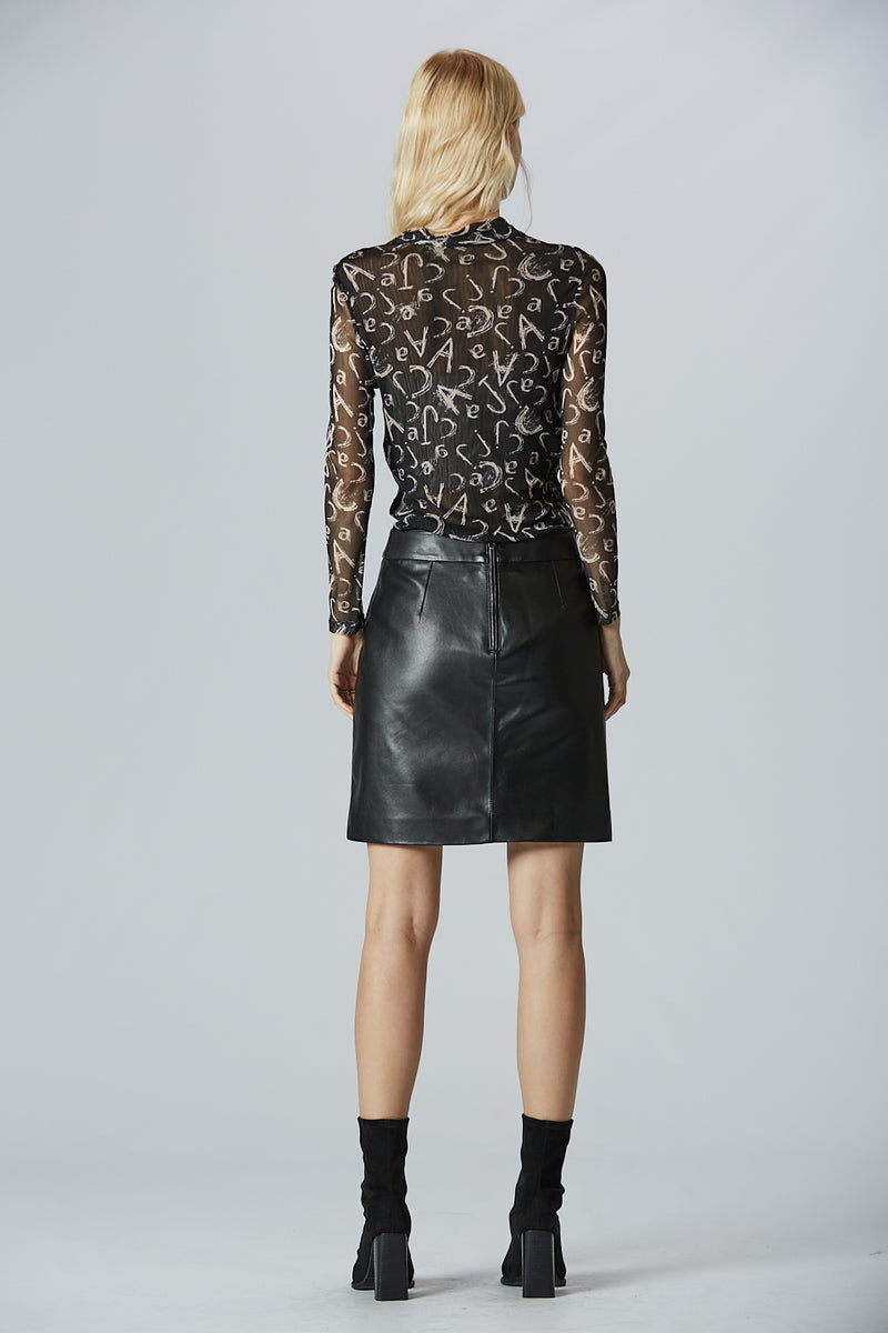 Side Split Leather Skirt
