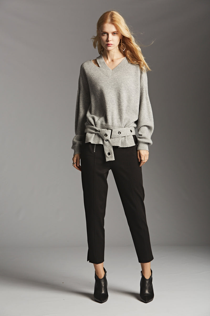 V Neck Cut Out Sweater