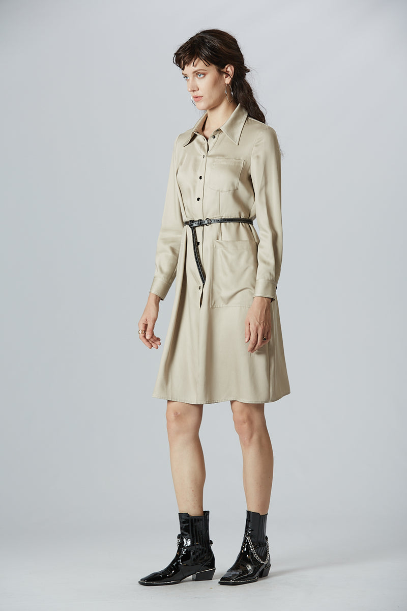 Dart Detail Shirt Dress With Belt