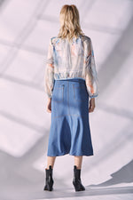 Open Front Denim Skirt