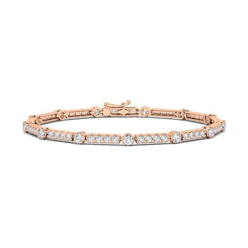Diamond Bezel and Pave Link Tennis Bracelet - adornet jewels