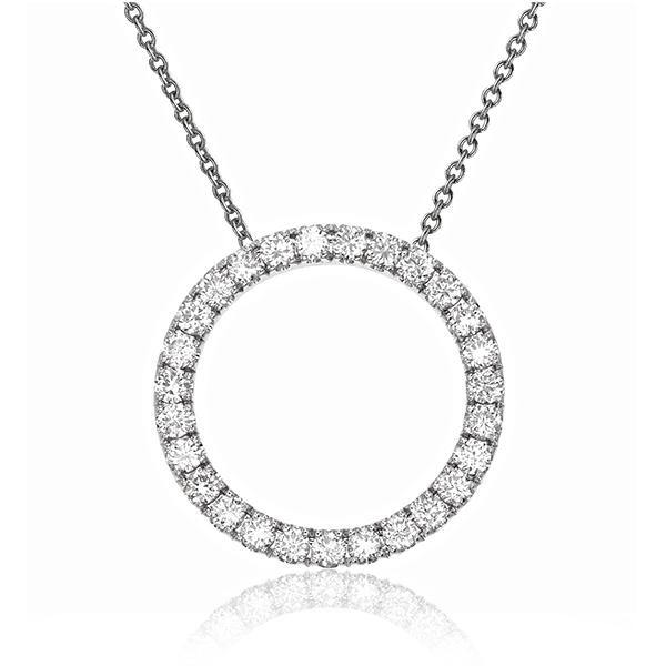 Circle of Life Pendant symbolizes notions of totality, wholeness, original perfection, the Self, the infinite, eternity and timelessness. It is composed of a single row of round brilliant diamonds. Radiant with 0.61 ct.t.w. of diamonds. With its essential design, this stylish diamond necklace wears well whether you're running errands, in the office or out with the girls.