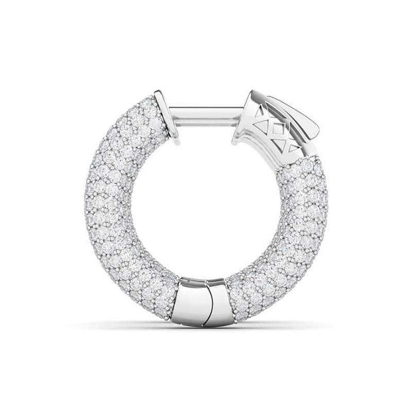 Diamond Huggie Earrings 1.91ct.t.w. These captivating huggie hoop earrings displays an array of tiny gorgeous pave-set diamonds with impeccable sparkle. Secured with hinged latch backs, these diamond earrings perfectly offer you effortless elegance.