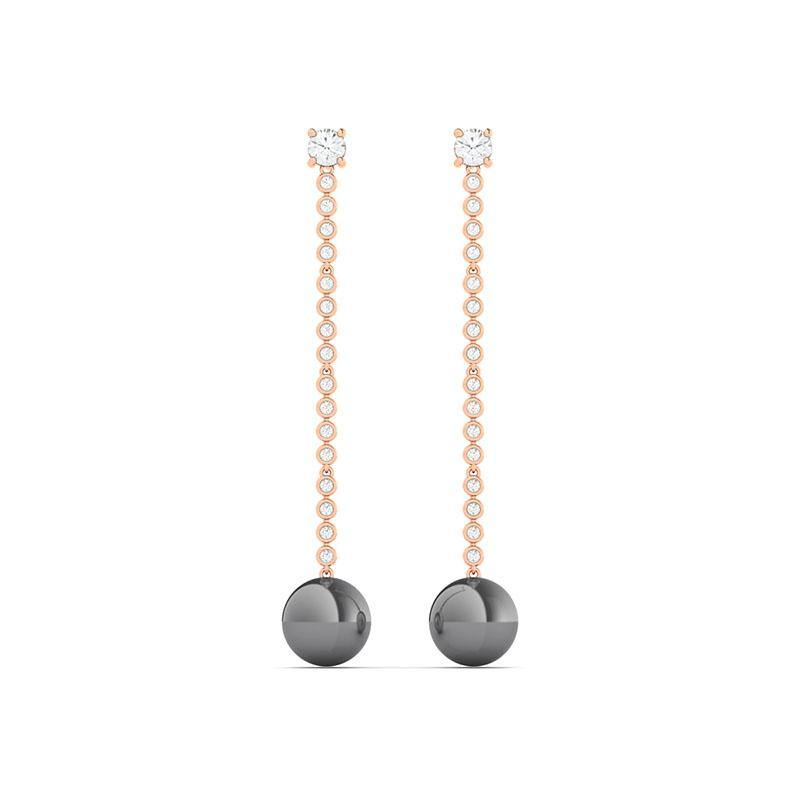 Experience the incredible glow in these spectacular pearl drop earrings. Finely crafted with 36 brilliant round diamonds in 14k gold allowing for your choice of rose gold, white gold, and yellow gold. The lustrous pearls shine is so intense that it's almost metallic.