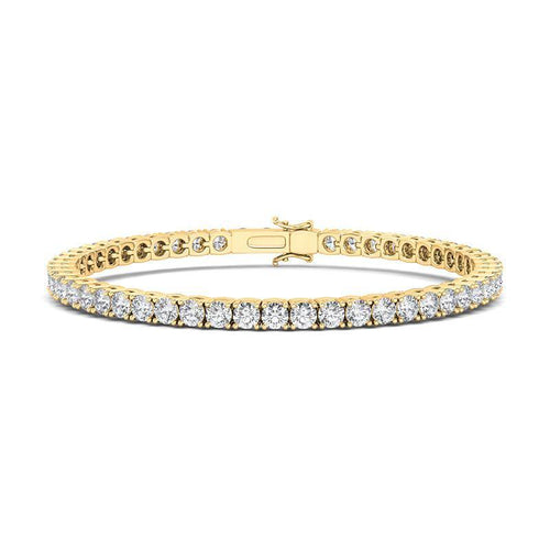 This tennis bracelet is a must-have for every woman. No matter the style, this simple and radiant bracelet will be your perfect outfit addition. Made of 14K gold allowing for your choice of rose gold, white gold, and yellow gold to suit all skin tones. Set with round cut diamond (2.5mm) in 4-prong setting. 6.0, 6.5, 7.0, 7.5 inch (3.5 ct.tw).