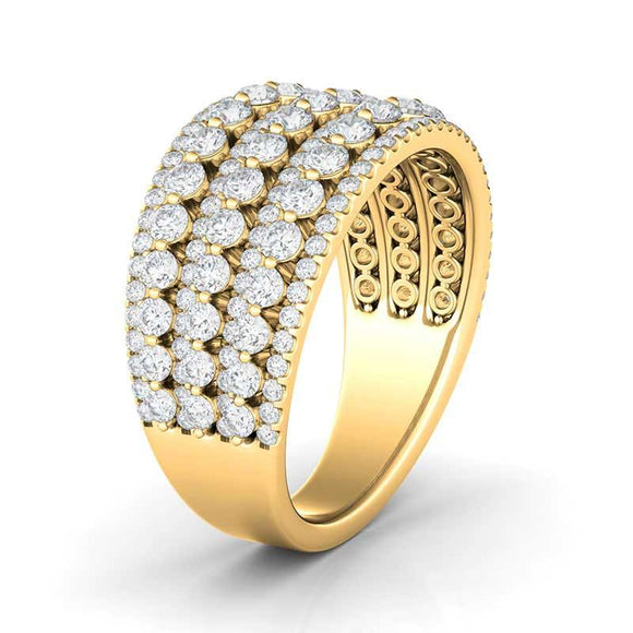 Surprise her with this bold diamond anniversary ring. Fashioned in 14K gold, this impressive look features alternating rows of diamonds for a decadent design. Radiant with 1.77 ct.t.w. of diamonds and a brilliant buffed luster, this ring is destined to be admired.