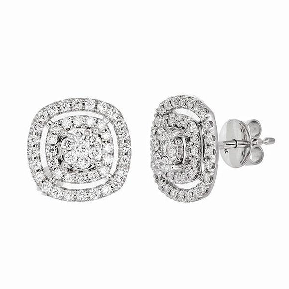 A coveted treasure for any collection, these diamond earrings features a round center diamond encircled by two pavé-set diamond halos and an elegant split-shank diamond band (average 0.86 total carat weight).
