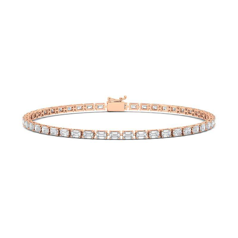 The perfect sparkling diamond bracelet! Glistens beautifully in the sun, and perfect for any occasion. If you want to have a sophisticated look, this is here for you. Slim and delicate bracelet that will make you look effortlessly gorgeous. Our bracelets are made of 14K gold with 3 colors provided to suit on every skin tone: white gold, rose gold, and yellow gold. Set with emerald cut diamond (2.5mm) in 4-prong setting. 6.0, 6.5, 7.0, 7.5 inch (9.65 ct.tw).