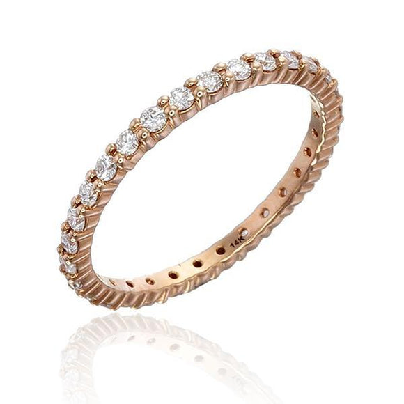 This diamond ring isn't fussy, it goes with everything you ever pair it with either your plain shirt, or your fabulous dress. Crafted in 14k gold allows for your choice of rose gold, white gold, and yellow gold. The ring has a total diamond weight of 0.52 ct.t.w. Every single piece is selected by our expert team to ensure the color and clarity meet our standard (color: F+; clarity: SI+).